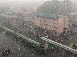 В Кемерово cегодня неожиданно выпал снег